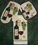 3 Piece Set of Wine Dish Towel and matching Pot Holder and OVen Mitt