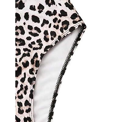 Floerns Women's High Waist Leopard Bikini Buckle Front Two Piece Swimsuit: Clothing