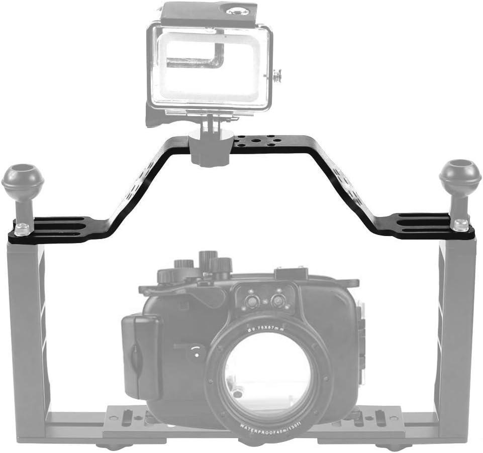 MEETBM ZIMO,Diving Tray Bracket Dual Handle Grip Handheld Expansion Mount System Color : Black Black