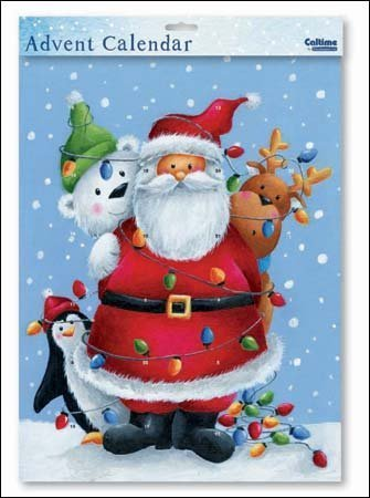 Large Advent Calendar (WDM9856) Caltime - All Tied Up - Santa Wrapped In Lights by Caltime Woodmansterne