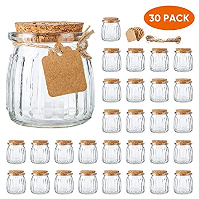 Brajttt 30 PCS 7 oz Glass Jars with Cork Lids, Yogurt Container for Jam, Spices, Extra Tags and String Included