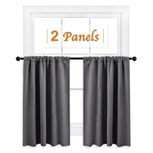 "RYB HOME Short Curtains Gray Half Window Curtains for Bedroom, Privacy Curtain Tiers for Windows, Energy Saving Curtain Tiers for Bathroom Shades, Wide 42"" x Long 36"" per Panel, Grey, Set of 2"