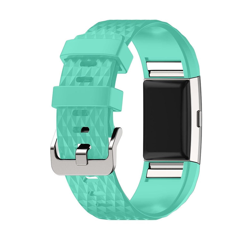 rukiwa新しいファッションスポーツシリコンブレスレットストラップバンドfor Fitbit Charge 2グリーン  B01MPWW5Y6