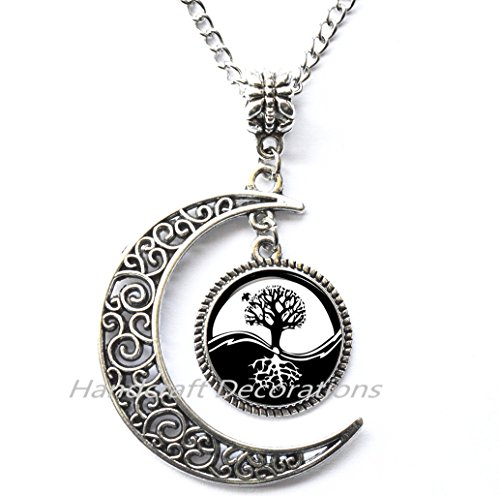 Charm Yin-Yang Tree of Life Pendant Astrology NECKLACE Jewelery Charm Pendant for Him or (Scene Diamond Necklace)