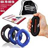 HomeGym 4U Hand Strengthener Grip Rings 30-100LB - Multiple Resistance Levels & Colors Available - Comfortable To Use Oval Shaped Ergonomic Design - For Men & Women of All Ages