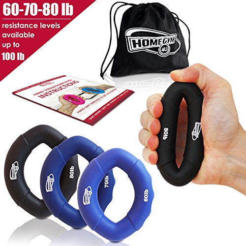 Grip Strength Trainer and Hand Strengthener - Hand Grip Strengthener and Grip Rings with 60-80lb Resistance - This Forearm Grip Workout is The Best Hand Exerciser Grip Strengthener for Carpal Tunnel ()