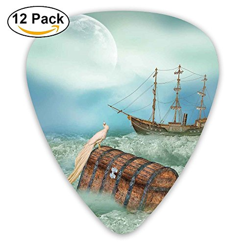 Newfood Ss Antique Old Trunk In Ocean Waves With Magic Bird Pirate Boat Picture Guitar Picks 12/Pack Set (Best Fishing In Belize)