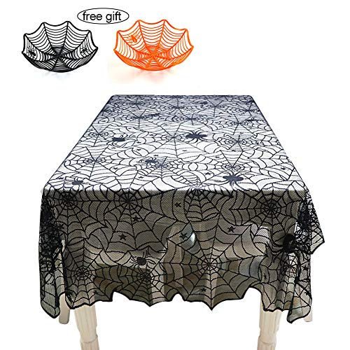 Halloween Black Spider Web Tablecloth, WEST BAY 1 PCS Black Spider Web Halloween Tablecloth 2 PCS Halloween Candy Bowls Trick-or-treat