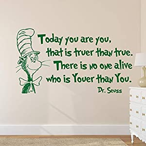 Wall Decals Today You are You That is Truer Than True Decal Quote Wall Decal Dr Seuss Vinyl Sticker Decals Quotes Sayings Decor Nursery Baby Made in USA