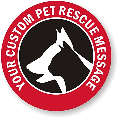"""Custom Pet Rescue Message (with Graphic), Adhesive Signs and Labels, 5 Labels / Pack, 3"""" x 3"""""""