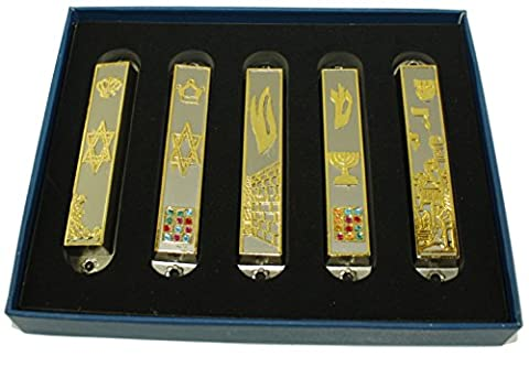 A Set of 5 Pewter clean and smooth cut and Gold plated Mezuzahs symbols with different enameled themes. Each is about 3.5 Inches and comes with scrolls and Screws for hanging
