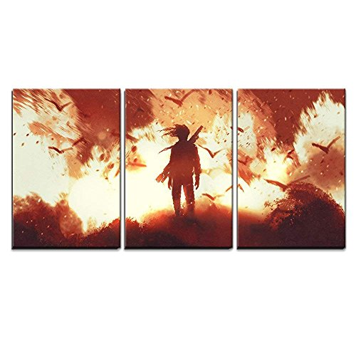 Fire Oil Painting - wall26 3 Piece Canvas Wall Art - Man with Gun Standing Against Fire Background,Illustration Painting - Modern Home Decor Stretched and Framed Ready to Hang - 16