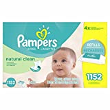Pampers Baby Wipes Natural Clean (Unscented) (18 Refills, 1152 Count, Natural Clean)