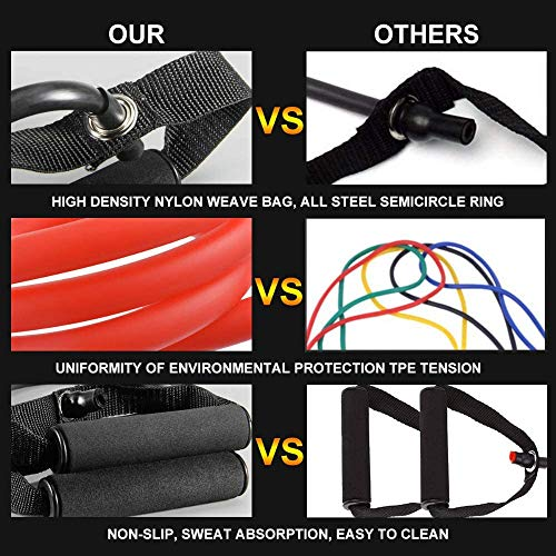MEYUEWAL Elastic Fitness Bands Exercise Cords Resistance Band with Handles Latex Pull Rope Resistance Tubes Workout Bands Black 25-30LBS