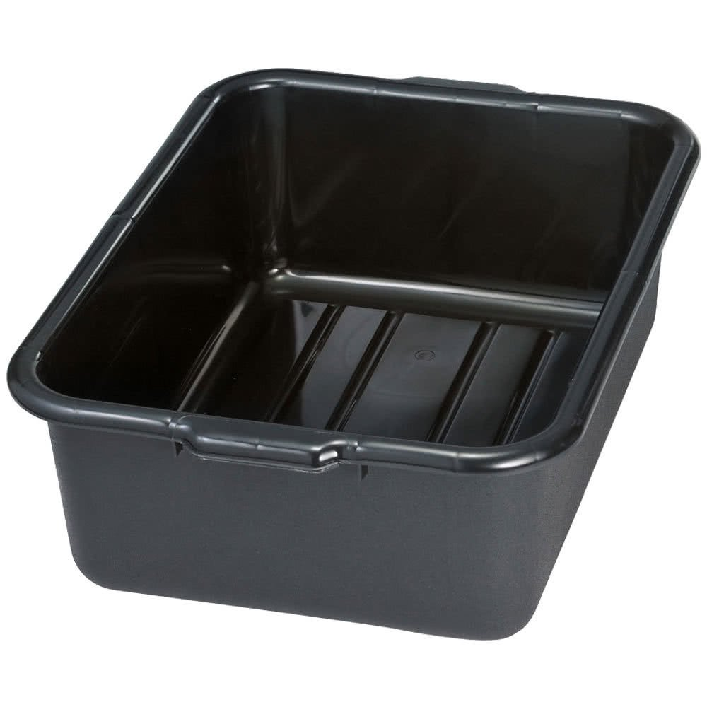 Tablecraft 1537E Black 21'' x 16'' x 7'' Recycled Polyethylene Plastic Bus Tub, Bus Box