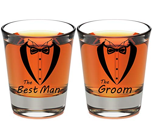 (Wedding and Bachelor Party 5 Pack Clear Shot Glasses Tuxedo Set | Great for Groom, The Best Man and Groomsmen Bachelor Party Set of 5 or 2 Pack (Set of Groom Best Man))