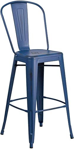 "Flash Furniture Commercial Grade 30"" High Distressed Antique Blue Metal Indoor-Outdoor Barstool"