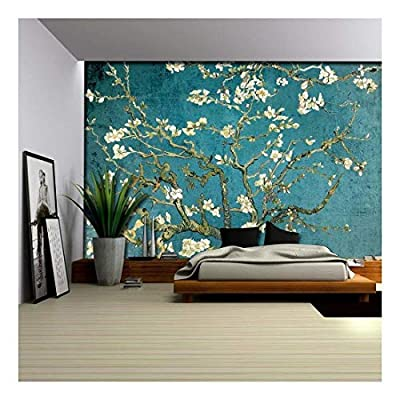 Vibrant Teal Gradient Almond Blossom by Vincent Van Gogh - Wall Mural, Removable Sticker, Home Decor - 66x96 inches