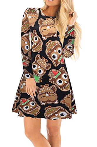Santa Dress Round Womens Snowman Dresses Christmas Jaycargogo Xmas Swing 8 Neck Mini pYqvpA