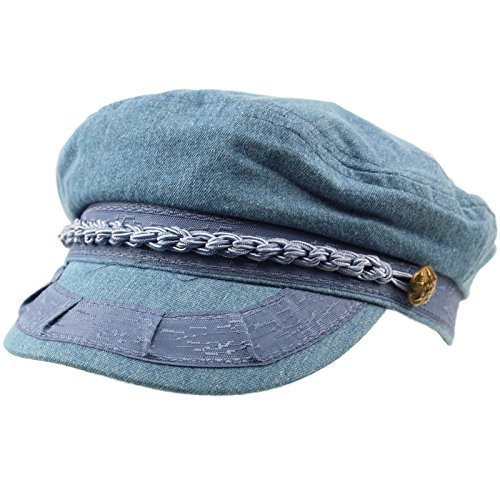 Men's Summer Cotton Greek Fisherman Sailor Fiddler Driver Hat Flat Cap L/XL Denim (Greek Fisherman Cap)