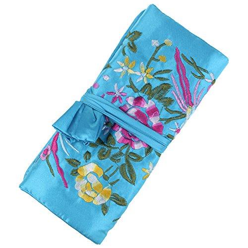 SuoSuo Jewelry Roll,Travel Jewelry Roll Bag,Light Blue Silk Embroidery Brocade Jewelry Organizer Case with Tie Close