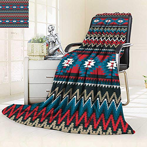 YOYI-HOME Throw Microfiber Duplex Printed Blanket Geometric Ethnic Embroidery Design for or Paper and Clothing Anti-Static,2 Ply Thick,Hypoallergenic/31.5