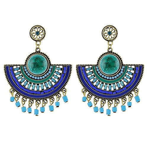 Tassel Shaped (JD Million shop Indian Jewelry Bohemia Earring Green Blue Black Beads Fan-shaped Chandelier Earrings with Tassel (Blue))
