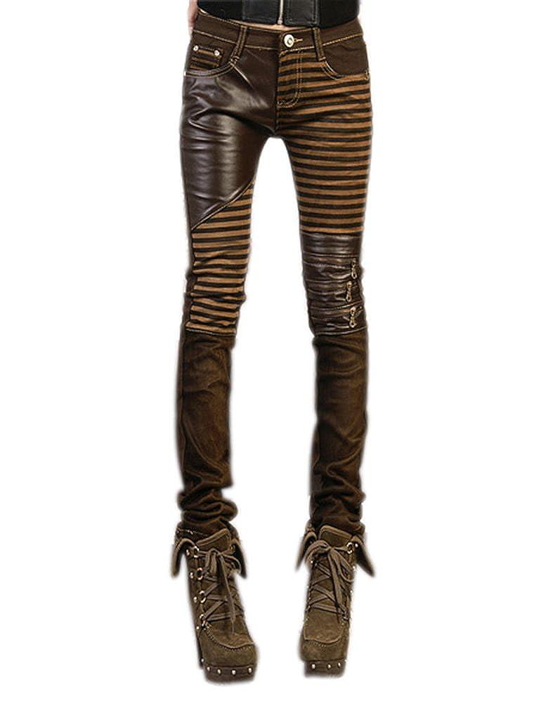 Idopy Pantalones de Cuero de Las Mujeres Slim Fit Pantalones de PU Leggings con Bolsillos: Amazon.es: Ropa y accesorios