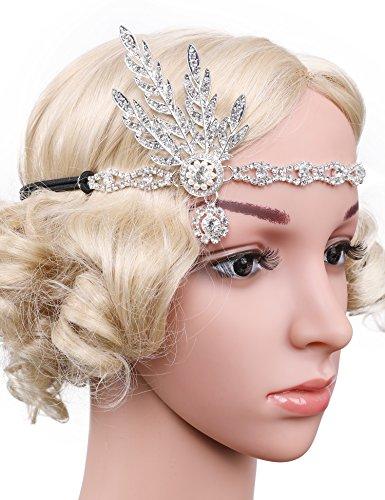 Flapper Girl Art Deco 1920s Flapper Great Gatsby Leaf Wedding Bridal Tiara Pearl Headpiece Headband