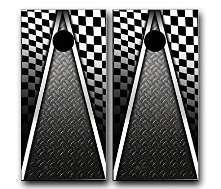 amazoncom auto racing checkered flag cornhole wrap set vinyl board decal baggo bag toss boards made in the usa cornhole games sports u0026 outdoors - Cornhole Board Wraps