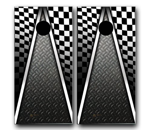AUTO RACING CHECKERED FLAG CORNHOLE WRAP SET Vinyl Board DECAL Baggo Bag Toss Boards MADE IN the USA