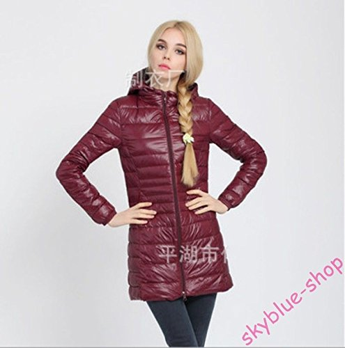 Asia Coat Thin Parka UK Long M S XS Colors Jacket New Ladies Slim Fit Asia Black Outwear Down L Hooded Burgundy UK Candy Yx14xpwq