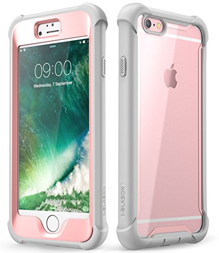 i-Blason Ares Series Designed for iPhone 6s Plus / 6 Plus Case, Full-Body Rugged Clear Bumper Case with Built-in Screen Protector, Pink, 5.5