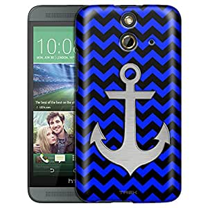 HTC One E8 Case, Slim Fit Snap On Cover by Trek Anchor on Chevron Zig Zag Blue Black Trans Case