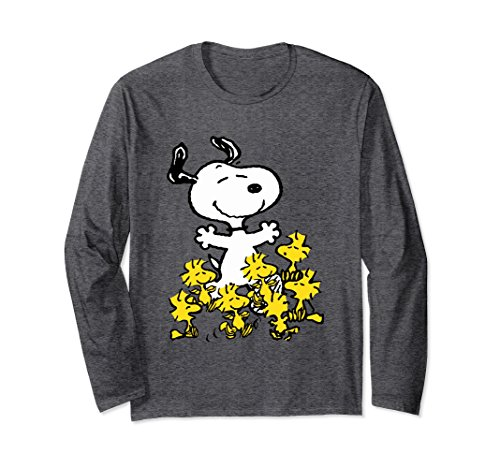 Unisex Peanuts Snoopy chick party Long Sleeve T-shirt Large Dark Heather - Snoopy Chicks