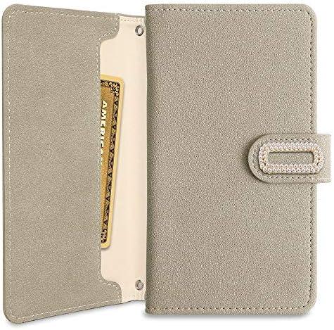 Xperia 5 SOV41 手帳型 ケース 大人 かわいい パール バックル カード収納 カバー (グレー) au エーユー