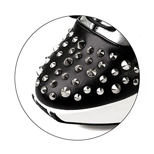 Thick Sole Rivet Shoes High BLACK Heeled Leather 34 NSXZ Fashion Genuine Women's qFwX1F