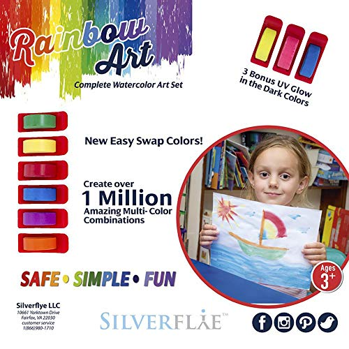 (Kids Paint Set by Silverflye -No Mess Washable Watercolor- Safe Non Toxic-Art Crafts for kids ages 3+ - 6 No Drip Paint Brushes- Portable Storage Case- Unique Art Kit- BONUS UV Glow in the Dark Colors)