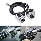 KaTur Waterproof Motorcycle 1'' 25mm Silver Handlebar Control Switch with Wire For 1996-2012 Harley Softail, Dyna, Sportster 883, Sportster 1200, V-Rod