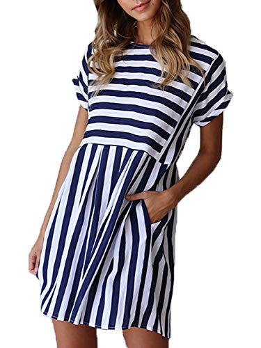 Naggoo Junior Flowy Striped Dresses,Summer Blue and White Stripe Short Sleeve Pocket Pleated Swing A-line Dresses,Navy Blue,XL