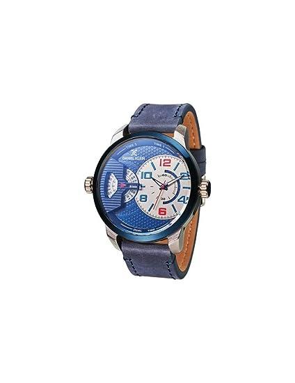 Reloj Daniel Klein Premium para hombre con esfera azul y correa de piel.: Amazon.es: Relojes
