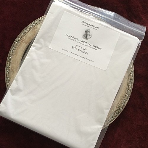 "25 Sheets 24"" x 36"" ; The Linen Lady's Acid Free Archival Tissue Paper - Unbuffered & Lignin Free (25) Protect Your HEIRLOOMS!"