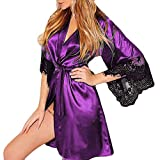 Hanican Women Lingerie Silk Kimono Dressing Lace Sexy Babydoll Belt Bathrobe Nightwear, Purple, 3XL