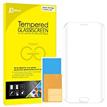 "S6 Edge Screen Protector, JETech Full Screen 5.1"" Premium Curved Tempered Glass Screen Protector Film for Samsung Galaxy S6 Edge (Crystal Clear)"
