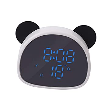 B Blesiya Panda Mirror Alarm Clock Voice Control Led Reloj Digital - Blanco Negro: Amazon.es: Hogar