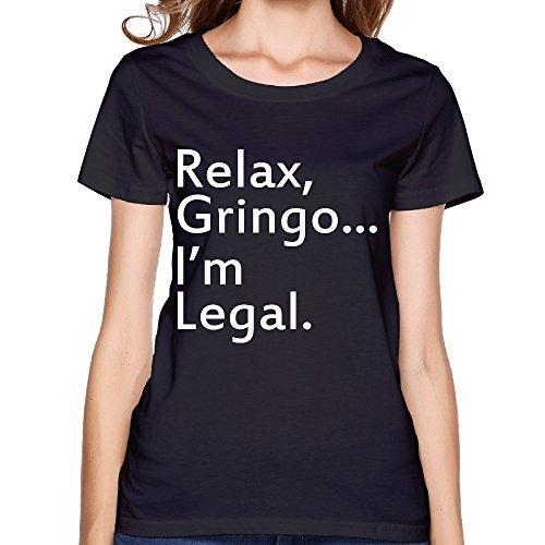 [Texhood Women's Relax, Gringo... I'm Legal - Funny Mexican, Latino, Spanish Immigrant Black Tshirts] (Doc Mcstuffins Costume Toys R Us)