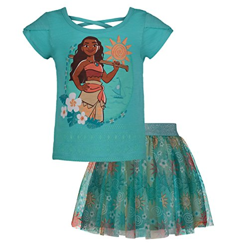 Disney Moana Girls' Short Sleeve T-Shirt & Skirt Clothing Set, Blue (2T)]()