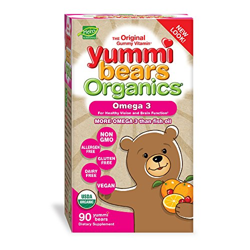 Yummi Bears Organics Omega 3 Gummy Vitamin Supplement for Kids, 90Count