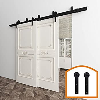 Winsoon 5ft bypass barn door hardware sliding kit 4 16ft for interior exterior cabinet closet for Exterior bypass barn door hardware