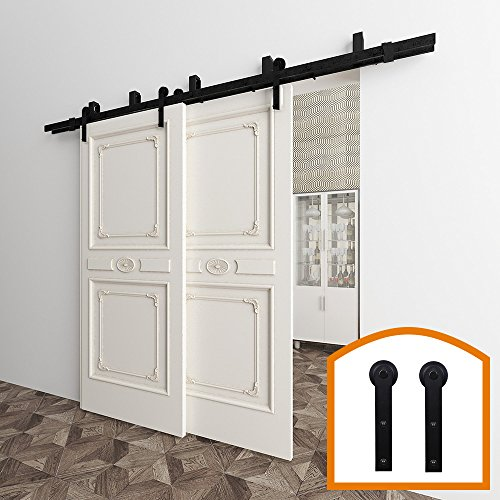 HomeDeco Hardware 5-16 FT Bypass Barn Door Hardware Mount Double Door Kit Rustic Black Steel Metal Rail Roller Low Ceiling Bracket Set (8 FT New Style Bypass kit)